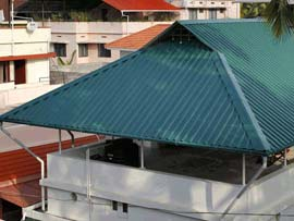Best, low-cost, cost effective Aluminium, Galvalume, Polycarbonate, garden, glass roofing contractors in Trivandrum, Kerala